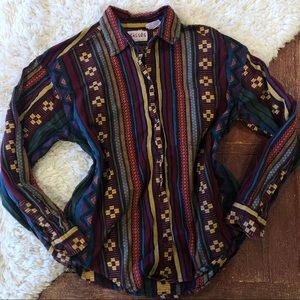 Vintage | Western Aztec Boho Button Down Shirt